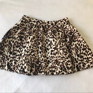 Zara Basic 100% Cotton Pleated Animal Print Skirt